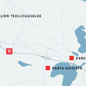 Kartta paloasemien sijainneista