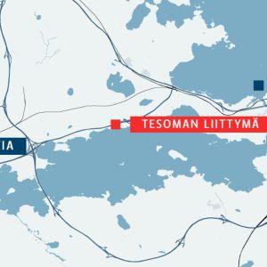 Nokia, Tampere, välissä Nokian moottoritie eli pätkä valtatie 12:a