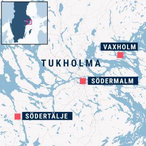 Tukholman alueen kartta, Södertälje, Södermalm, Vaxholm merkittynä