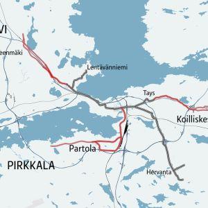 Kartta ratikan reittivaihtoehdoista Tampereen seudulla