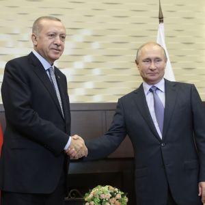 Venäjän presidentti Vladimir Putin ja Turkin presidentti Recep Tayyip Erdogan tapasivan Sotšissa 22. lokakuuta.
