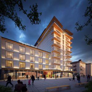 Havainnekuva Rovaniemen City Hotel Oy:n yhdeksänkerroksisesta hotellista.