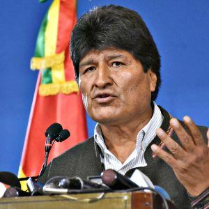 Evo Morales lehdistötilaisuudessa 9. marraskuuta 2019.