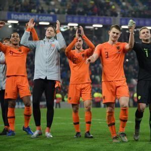 Hollannin pelaajat juhlivat EM-kisapaikkaa.