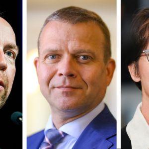Jussi Halla-aho, Petteri Orpo ja Sari Essayah vierekkäin yhdistelmäkuvassa.