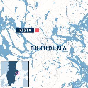 Tukholma ja Kistan kaupunginosa kartalla.