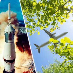 Pesukone, avaruusraketti ja lentokone puiden oksien läpi kuvattuna.