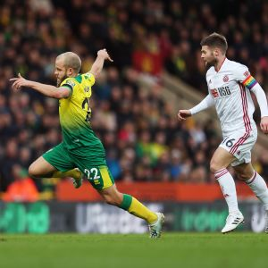 Teemu Pukki Norwich City Ollie Norwood Sheffield United