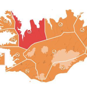 Islannin varoituskartta