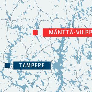 Mänttä-Vilppula sijaitsee Pohjois-Pirkanmaalla noin 100 kilometrin päässä Tampereesta.