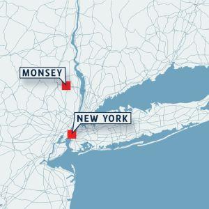 Kartta, johon on merkitty Monsey, joka sijaitsee New Yorkin pohjoispuolella.