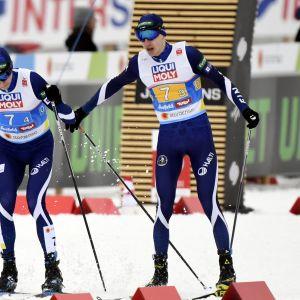 Eero Hirvonen ja Ilkka Herola Seefeldin pariviestissä.