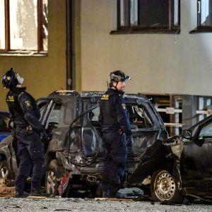 Räjähdys Gyllenstierns -kadulla Tukholmassa.