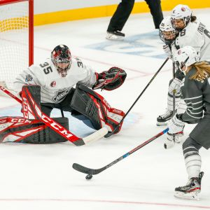 Team Canada goaltender Ann-Renee Desbiens (35) prepares to make save on shot by Team USA defenseman Lee Stecklein (2) during the 2020 NHL All-Star Skills Elite Women's 3-on-3 presented by Adidas on January 24, 2020, at Enterprise Center in St. Louis, MO. (Photo by John Crouch/Icon Sportswire via Getty Images)