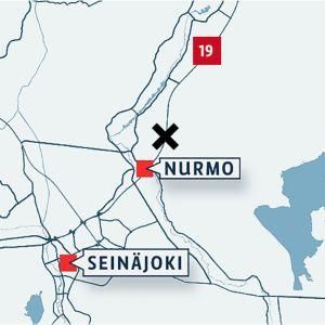 Kartta missä Seinäjoki, Nurmo merkittynä.