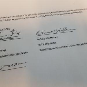 Vihreiden, KD:n ja Sara Tuiskun sopimus teknisestä vaaliliitosta.