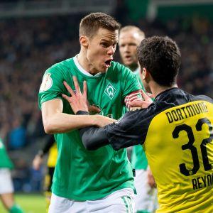 SV Werder Bremenin Niklas Moisander ja Borussia Dortmundin Giovanni Reyna