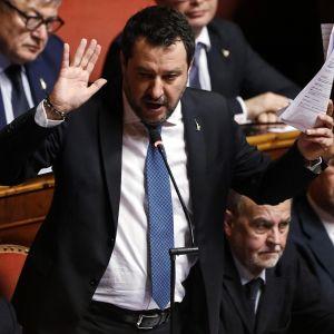 Matteo Salvini Italian senaatin äänestyksessä 12.02.2020.
