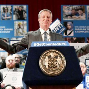 Bill de Blasio kuvattuna kampanjatilaisuudessa New Yorkissa.