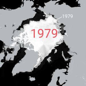 Napajään pinta-ala 15.9. 1979–2020 (materiaalista puuttuvat vuodet 1981, 1983 ja 1984). Valkoinen rajaviiva kuvassa, on vuoden 1979 jääpeitteen laajuus.