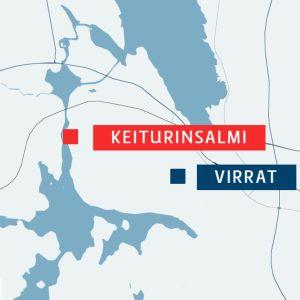 Keiturinsalmi johtaa Virtain laivarannan lähistöltä kohti Herraskoskea.