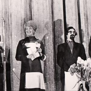 Tampereen ensimmäisten elokuvajuhlien palkintojenjakoa 1970