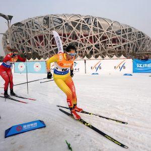 Kiinalaishiihtäjä Dinigeer Yilamujiang (etualalla) tähtää menestykseen vuoden 2022 kotiolympialaisissa Pekingissä.