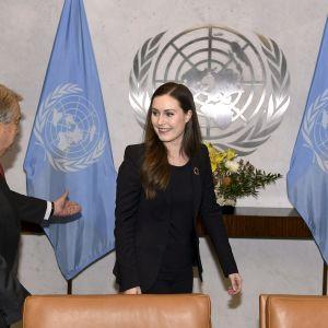 Sanna Marin ja Antonio Guterres tapaavat naistenpäivän tapahtumassa YK:ssa.