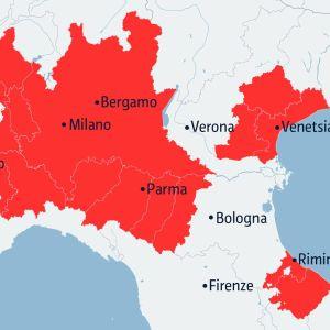 Italia rajoittaa tiukasti liikkumista keltaisella merkityillä alueilla.