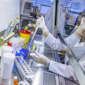 Koronavirunäytteitä testataan laboratoriossa Stuttgartissa.
