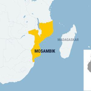 Kartta Mosambikin sijainnista Afrikan mantereella.
