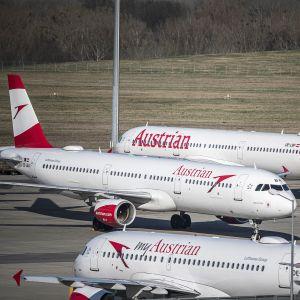 Lentokoneita lentokentällä Itävallan Wienissä.