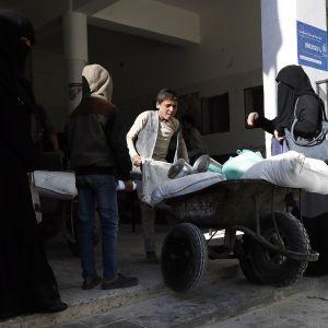 WFP:n avustuskeskus Sanaassa Jemenissä
