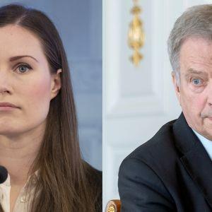 Sanna Marin ja Sauli Niinistö.