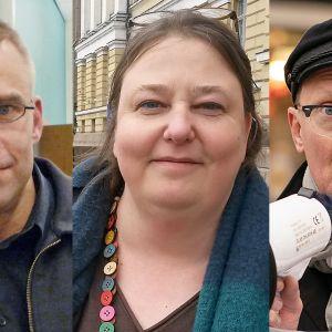 Kuvakollasi, jossa Max Holm Pelastakaa lapset ry, Frank Johansson, Amnesty, Laura Lodenius, Rauhanliitto.