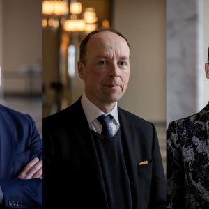 Petteri Orpo, Jussi Halla-aho ja Sari Essayah.