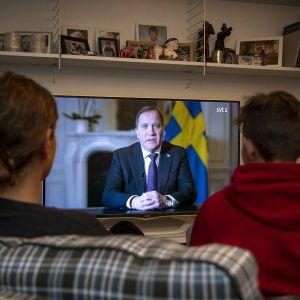 Stefan Löfven puhuu televisiossa.