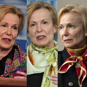Viisi kuvaa Deborah Birxstä, joissa jokaisessa hänellä on kaulallaan eri huivi.