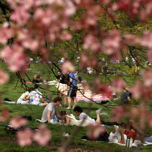 Ihmiset nauttivat aurinkoisesta kevätsäästä rajoituksista huolimatta Prospect Parkissa, New Yorkissa 2. toukokuuta.