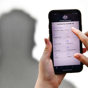 Kuvassa on Australian hallituksen koronavirustartuntojen jäljittämiseen tarkoitettu sovellus.