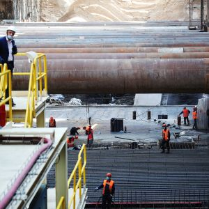 Kuvassa on Moskovan metron rakennustyömaa.