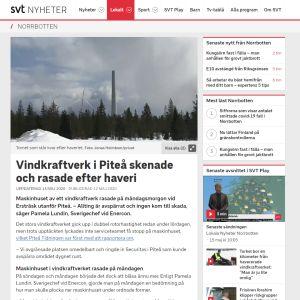 Kuvakaappaus SVT:n nettijutusta, jossa kerrotaan tuulivoimalaonnettomuudesta.