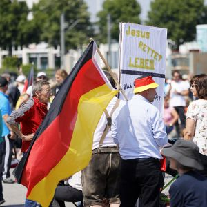 Mielenosoitus Stuttgartissa 16. toukokuuta.
