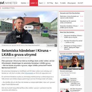 Nettijuttu SVT:n sivuilla Kiirunan maanjäristyksestä