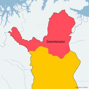 Suomen saamelaisalue kartalla.