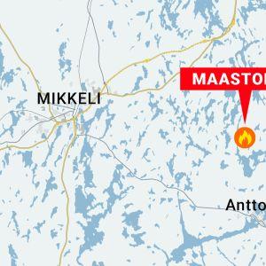 Maastopalo Mikkelin Anttolassa