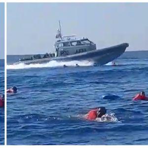 Kuvassa on Välimerellä hädässä olevia siirtolaisia.