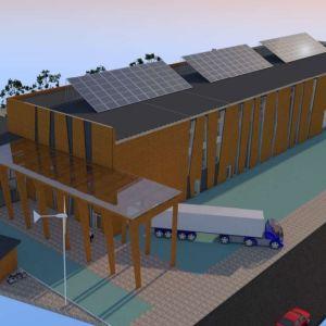Havainnekuva Savonlinnaan sunnitellusta teknisen testauksen ja teollisen puurakentamisen laboratoriosta.