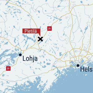 Kartta, auto-onnettomuus Pietilässä, Vihdissä.