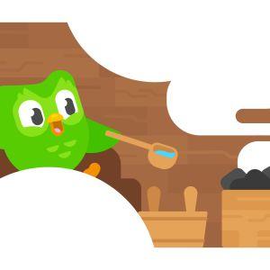 Duolingo bird in the sauna